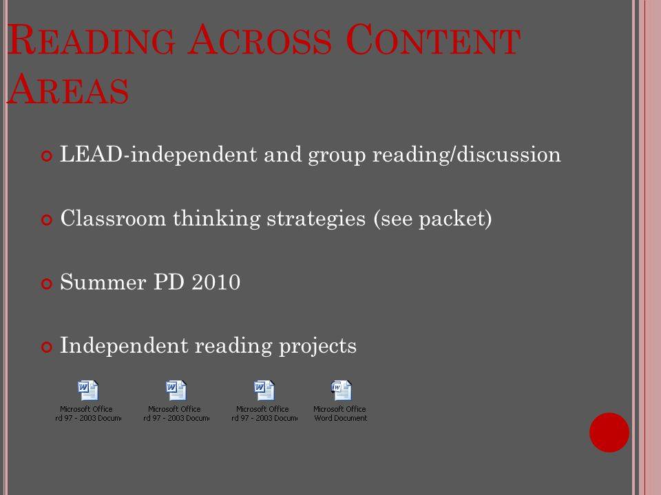 R EADING A CROSS C ONTENT A REAS LEAD-independent and group reading/discussion Classroom thinking strategies (see packet) Summer PD 2010 Independent reading projects