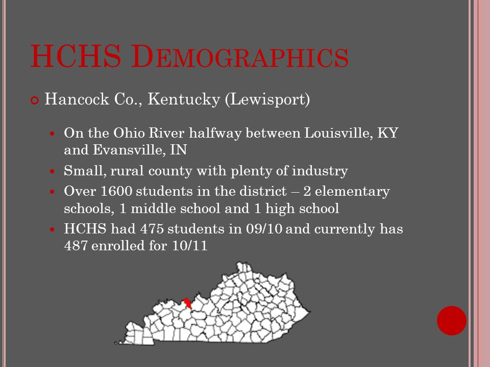 HCHS D EMOGRAPHICS Hancock Co., Kentucky (Lewisport) On the Ohio River halfway between Louisville, KY and Evansville, IN Small, rural county with plenty of industry Over 1600 students in the district – 2 elementary schools, 1 middle school and 1 high school HCHS had 475 students in 09/10 and currently has 487 enrolled for 10/11