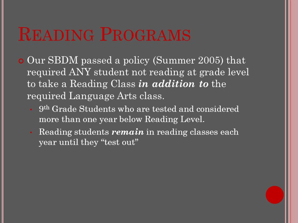 R EADING P ROGRAMS Our SBDM passed a policy (Summer 2005) that required ANY student not reading at grade level to take a Reading Class in addition to the required Language Arts class.