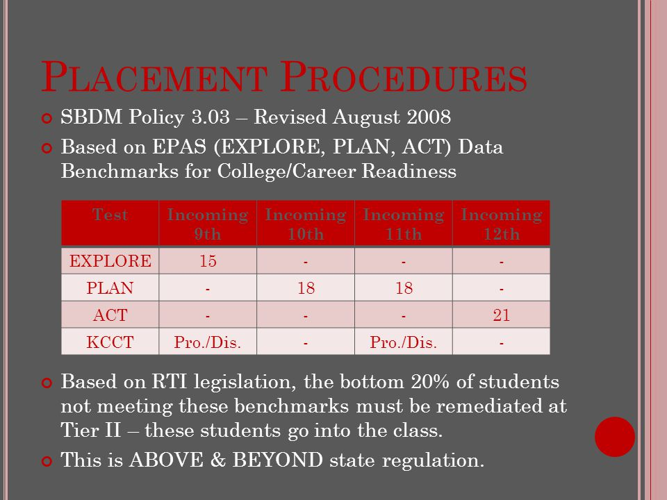 P LACEMENT P ROCEDURES SBDM Policy 3.03 – Revised August 2008 Based on EPAS (EXPLORE, PLAN, ACT) Data Benchmarks for College/Career Readiness Based on RTI legislation, the bottom 20% of students not meeting these benchmarks must be remediated at Tier II – these students go into the class.