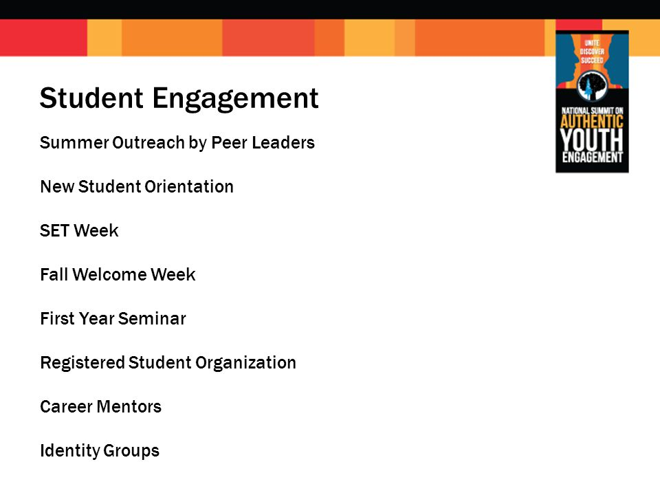 Student Engagement Summer Outreach by Peer Leaders New Student Orientation SET Week Fall Welcome Week First Year Seminar Registered Student Organization Career Mentors Identity Groups