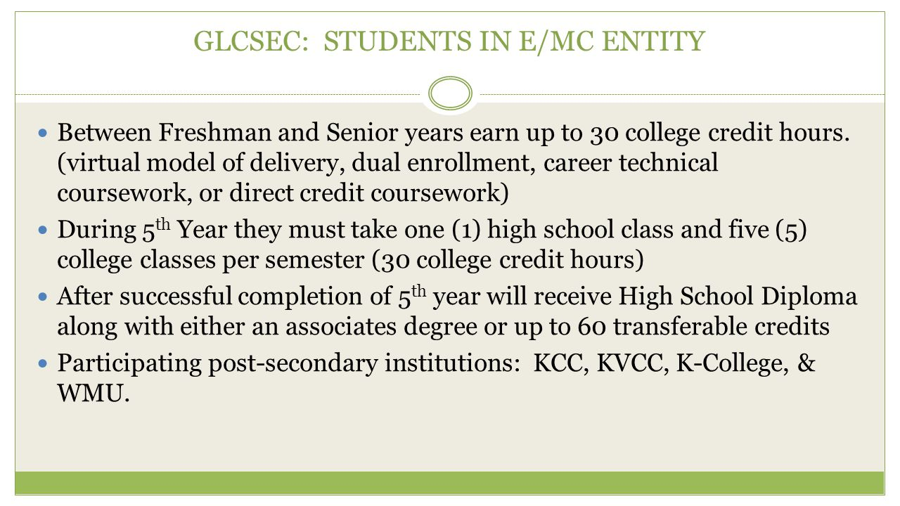 GLCSEC: STUDENTS IN E/MC ENTITY Between Freshman and Senior years earn up to 30 college credit hours. (virtual model of delivery, dual enrollment, car