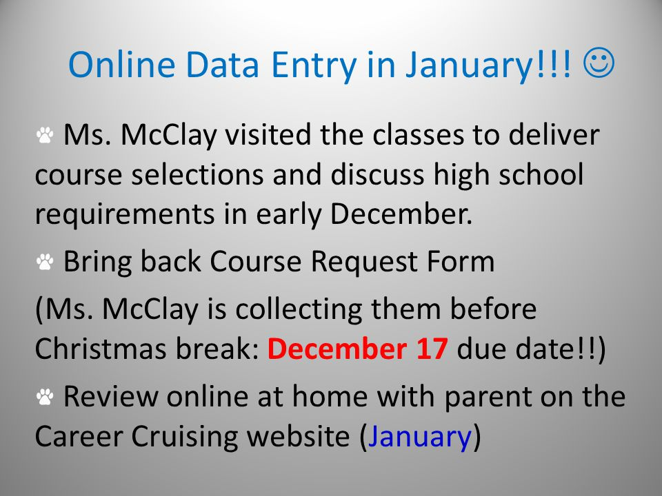 Online Data Entry in January!!. Ms.