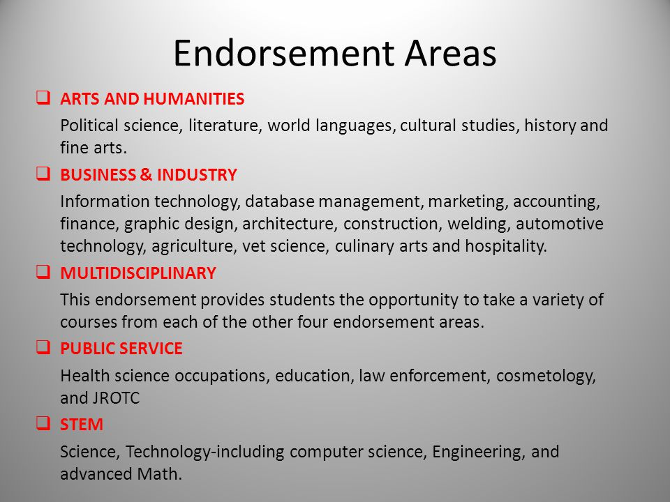 Endorsement Areas  ARTS AND HUMANITIES Political science, literature, world languages, cultural studies, history and fine arts.