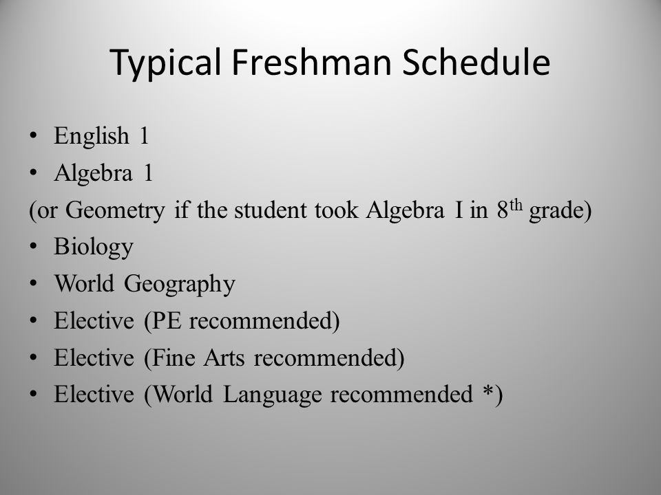 Typical Freshman Schedule English 1 Algebra 1 (or Geometry if the student took Algebra I in 8 th grade) Biology World Geography Elective (PE recommended) Elective (Fine Arts recommended) Elective (World Language recommended *)