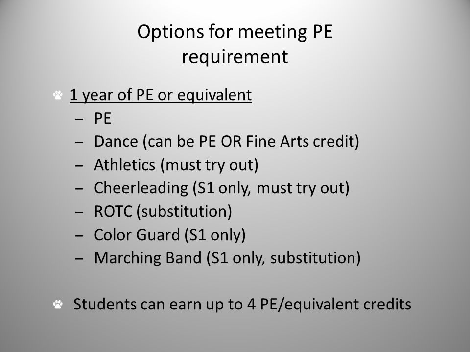Options for meeting PE requirement 1 year of PE or equivalent – PE – Dance (can be PE OR Fine Arts credit) – Athletics (must try out) – Cheerleading (S1 only, must try out) – ROTC (substitution) – Color Guard (S1 only) – Marching Band (S1 only, substitution) Students can earn up to 4 PE/equivalent credits