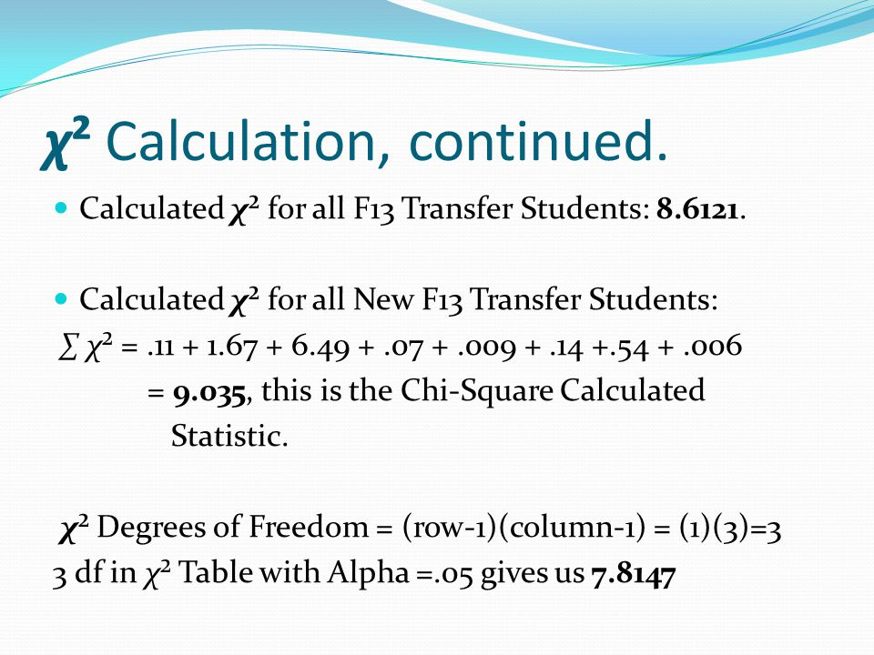 χ² Calculation, continued. Calculated χ² for all F13 Transfer Students: 8.6121.