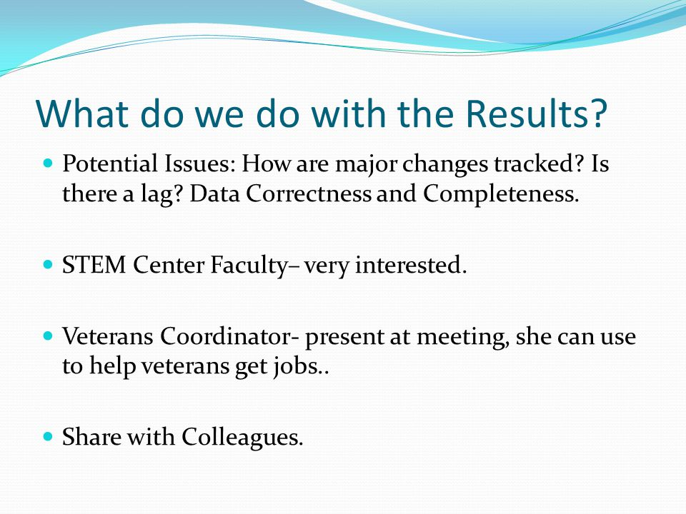 What do we do with the Results. Potential Issues: How are major changes tracked.