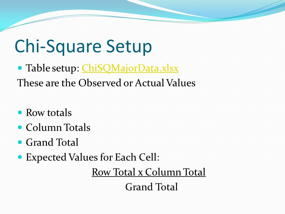 Chi-Square Setup Table setup: ChiSQMajorData.xlsxChiSQMajorData.xlsx These are the Observed or Actual Values Row totals Column Totals Grand Total Expected Values for Each Cell: Row Total x Column Total Grand Total