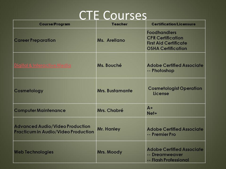 CTE Courses Course/Program Teacher Certification/Licensure Career PreparationMs. Arellano Foodhandlers CPR Certification First Aid Certificate OSHA Ce