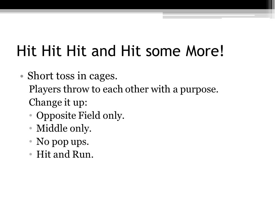 Hit Hit Hit and Hit some More. Short toss in cages.