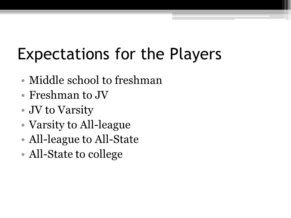 Expectations for the Players Middle school to freshman Freshman to JV JV to Varsity Varsity to All-league All-league to All-State All-State to college