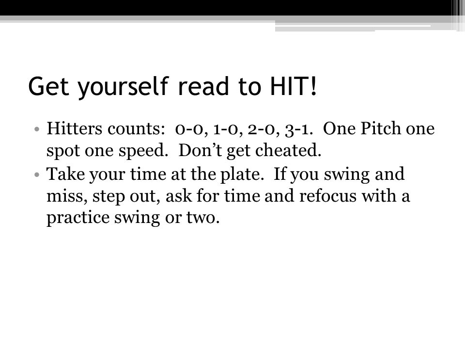 Hitting is not just in the batter's box.Study the pitcher warming up in pen and on field.