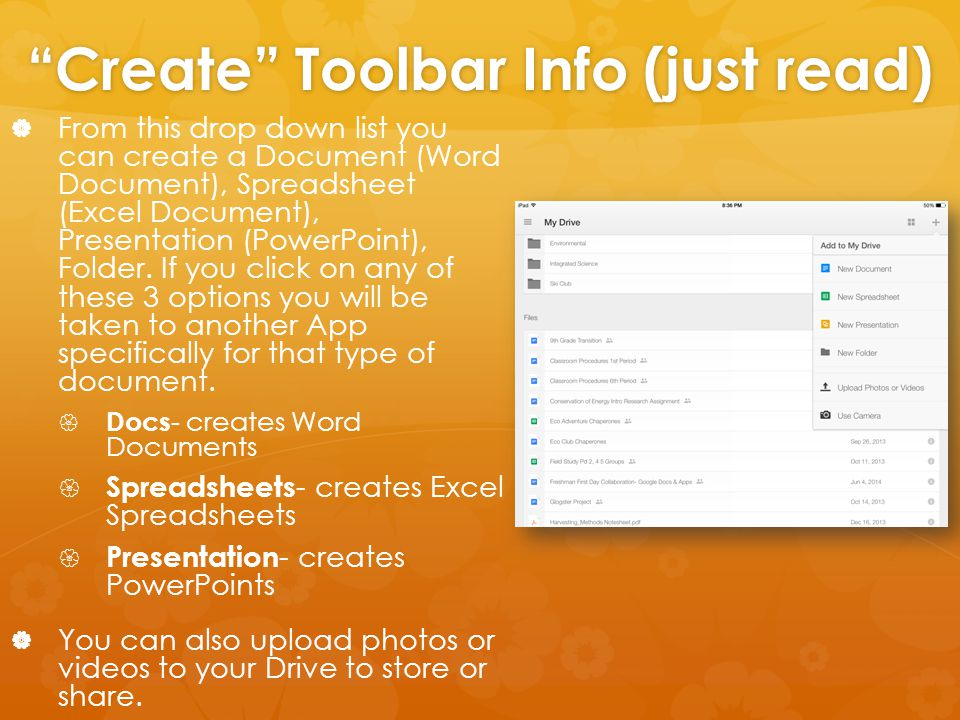 """Create"" Toolbar Info (just read)   From this drop down list you can create a Document (Word Document), Spreadsheet (Excel Document), Presentation ("