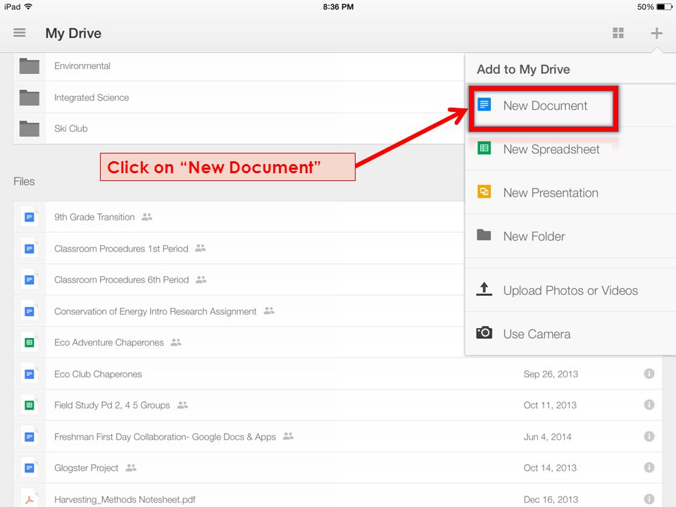 "Click on ""New Document"""