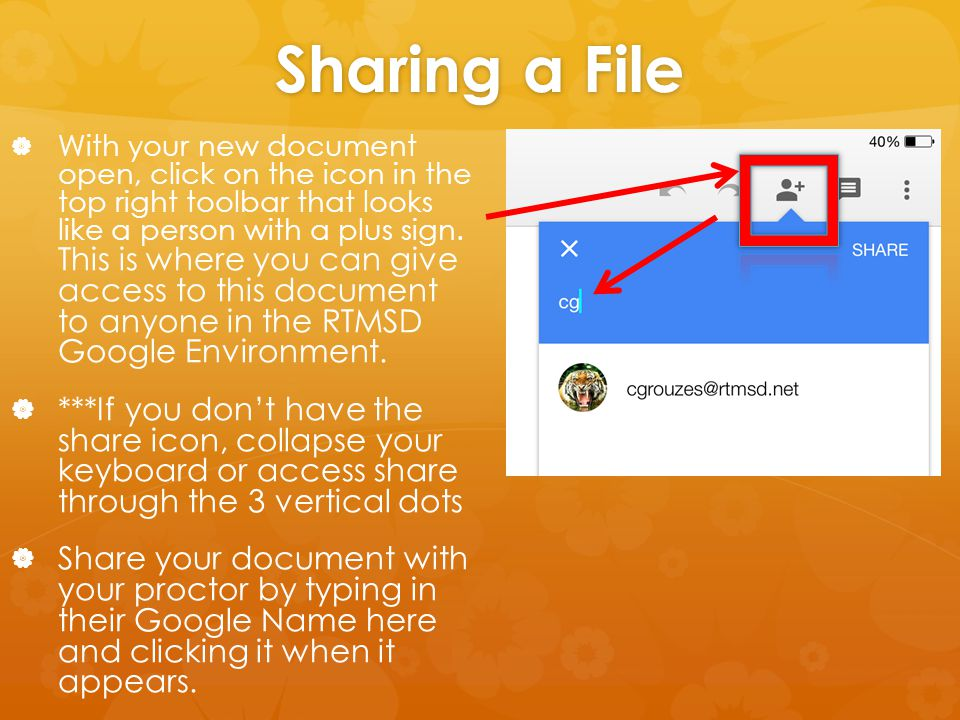 Sharing a File   With your new document open, click on the icon in the top right toolbar that looks like a person with a plus sign. This is where yo