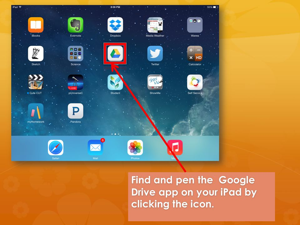 Find and pen the Google Drive app on your iPad by clicking the icon.