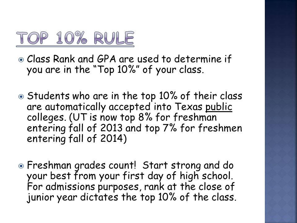  Class Rank and GPA are used to determine if you are in the Top 10% of your class.