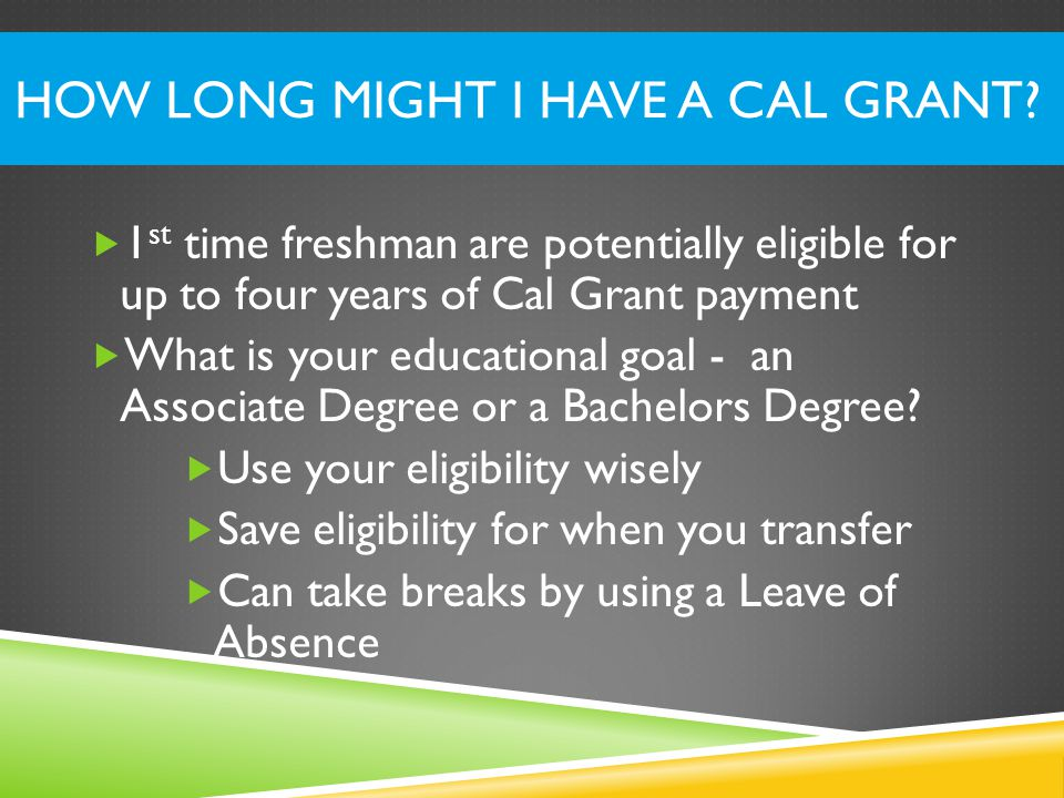HOW LONG MIGHT I HAVE A CAL GRANT.
