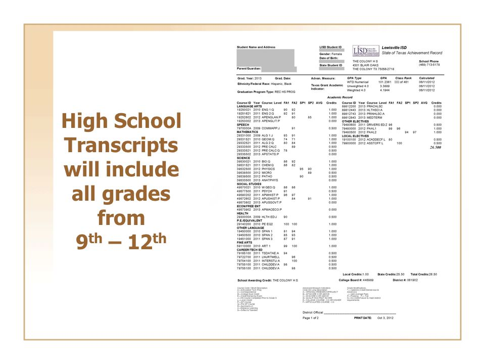 High School Transcripts will include all grades from 9 th – 12 th