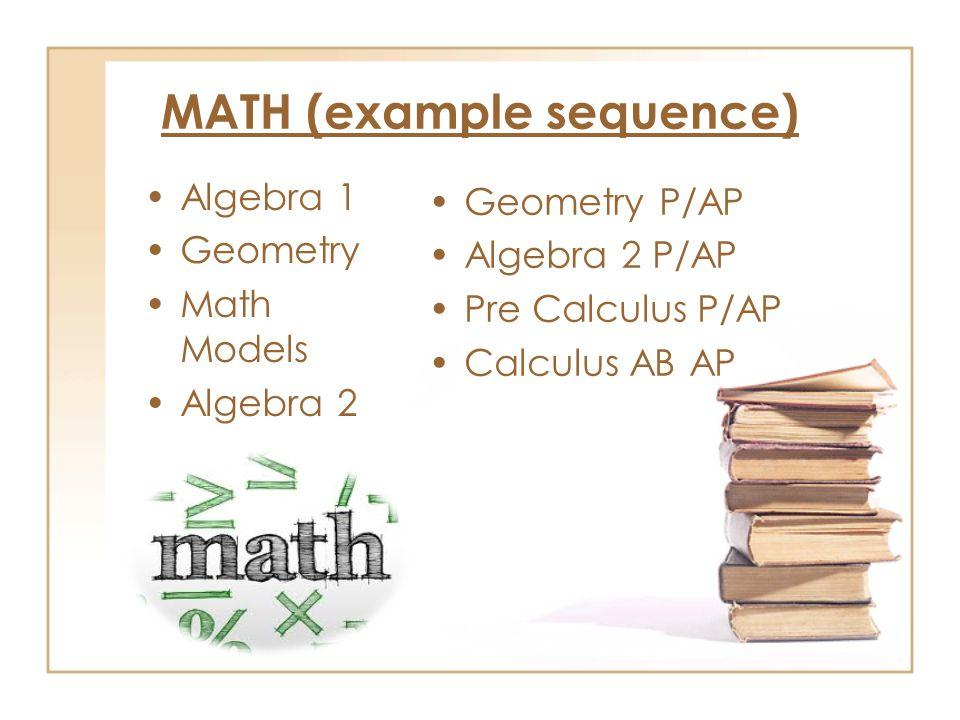 MATH (example sequence) Algebra 1 Geometry Math Models Algebra 2 Geometry P/AP Algebra 2 P/AP Pre Calculus P/AP Calculus AB AP