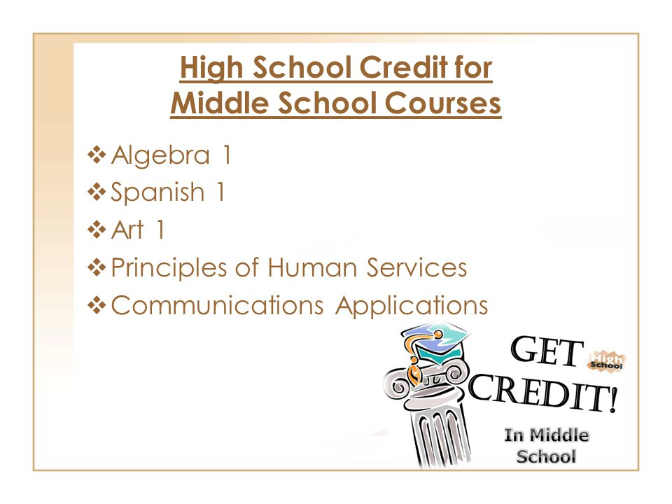 High School Credit for Middle School Courses  Algebra 1  Spanish 1  Art 1  Principles of Human Services  Communications Applications