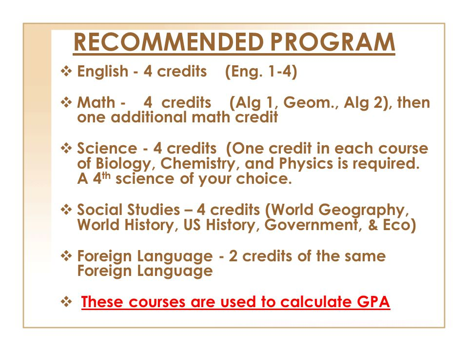RECOMMENDED PROGRAM  English - 4 credits (Eng.