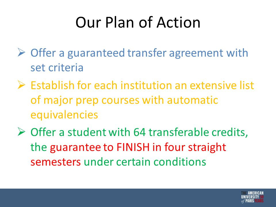Our Plan of Action  Offer a guaranteed transfer agreement with set criteria  Establish for each institution an extensive list of major prep courses with automatic equivalencies  Offer a student with 64 transferable credits, the guarantee to FINISH in four straight semesters under certain conditions