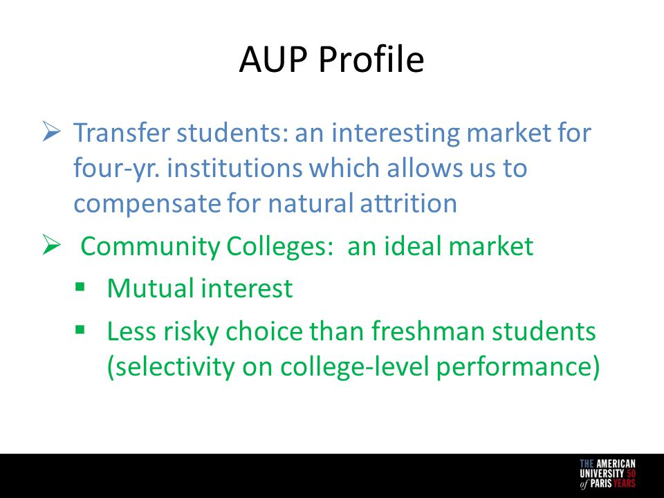 AUP Profile  Transfer students: an interesting market for four-yr.