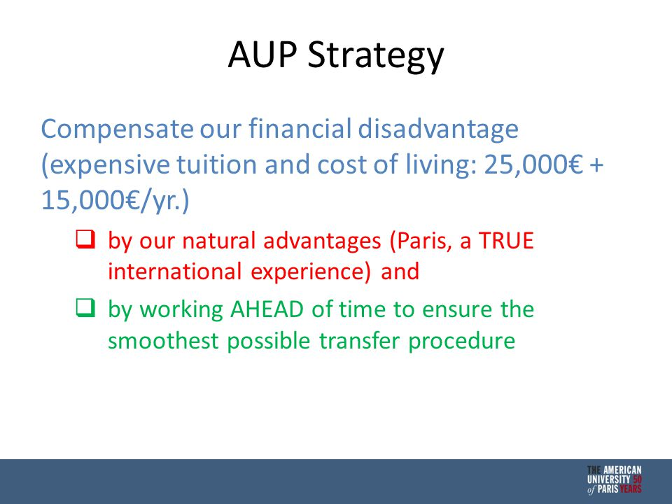 AUP Strategy Compensate our financial disadvantage (expensive tuition and cost of living: 25,000€ + 15,000€/yr.)  by our natural advantages (Paris, a TRUE international experience) and  by working AHEAD of time to ensure the smoothest possible transfer procedure