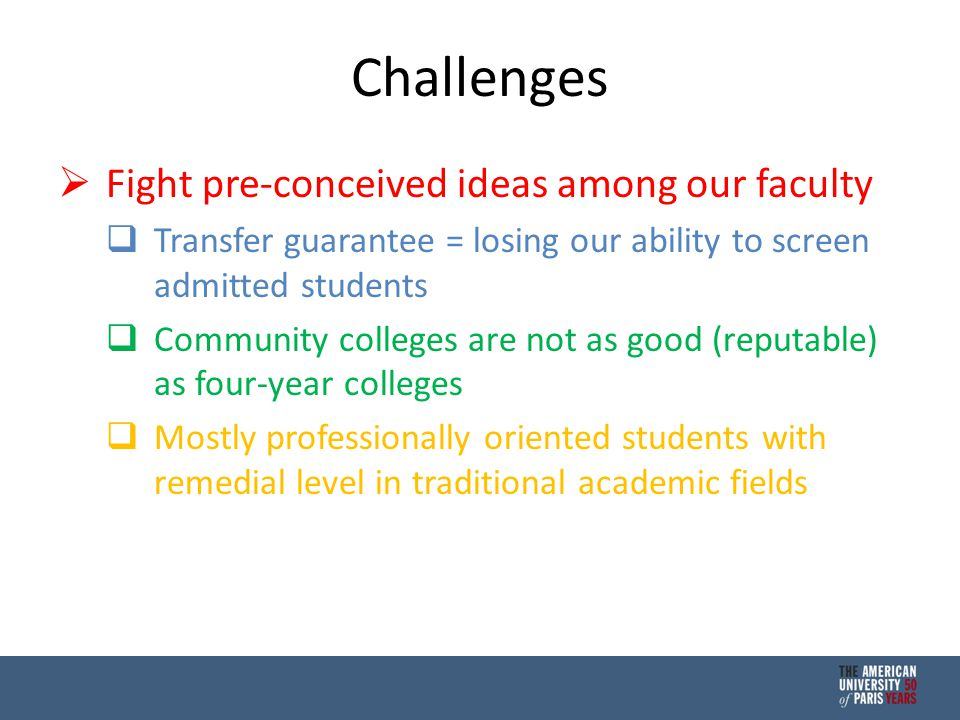 Challenges  Fight pre-conceived ideas among our faculty  Transfer guarantee = losing our ability to screen admitted students  Community colleges are not as good (reputable) as four-year colleges  Mostly professionally oriented students with remedial level in traditional academic fields