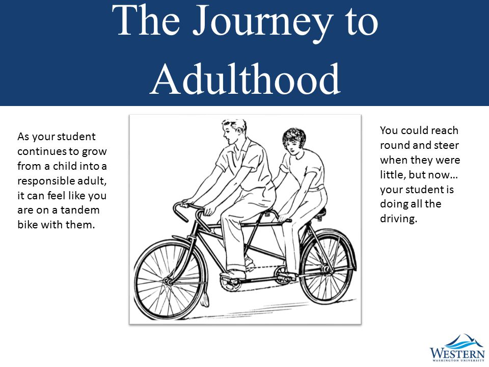 The Journey to Adulthood You could reach round and steer when they were little, but now… your student is doing all the driving.