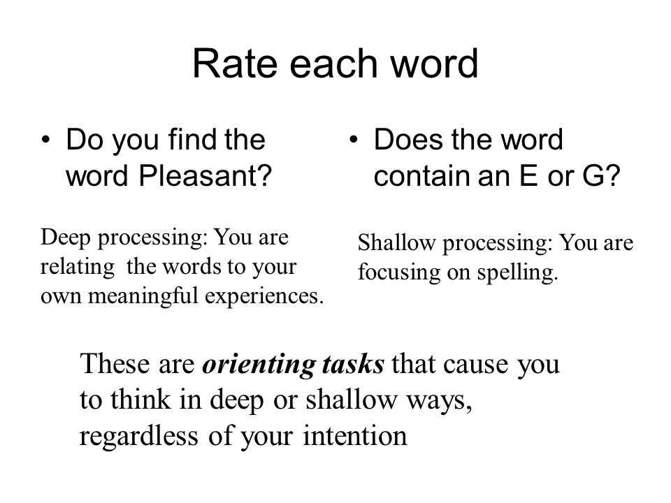 Rate each word Do you find the word Pleasant? Does the word contain an E or G? These are orienting tasks that cause you to think in deep or shallow wa