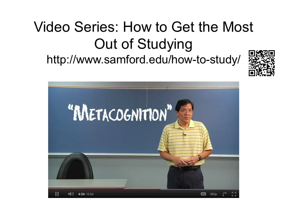 Video Series: How to Get the Most Out of Studying http://www.samford.edu/how-to-study/