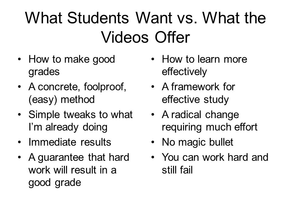 What Students Want vs. What the Videos Offer How to make good grades A concrete, foolproof, (easy) method Simple tweaks to what I'm already doing Imme