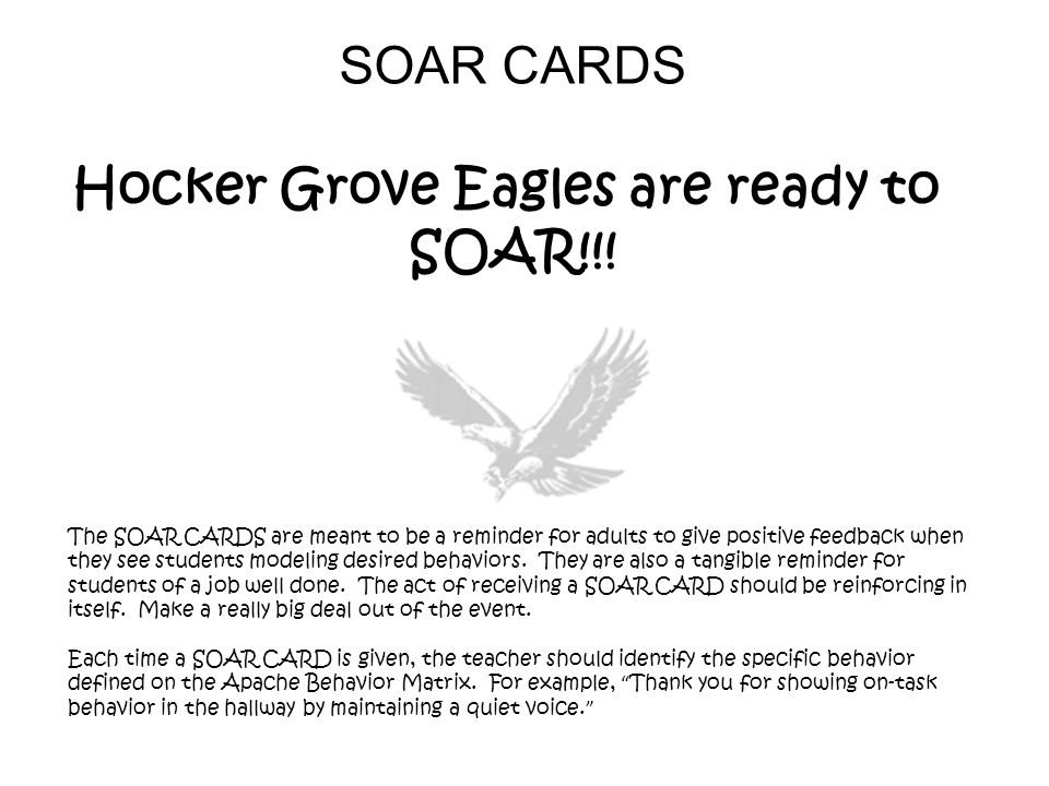 SOAR CARDS Hocker Grove Eagles are ready to SOAR!!! The SOAR CARDS are meant to be a reminder for adults to give positive feedback when they see stude