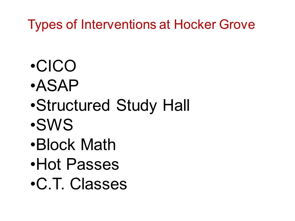 CICO ASAP Structured Study Hall SWS Block Math Hot Passes C.T. Classes Types of Interventions at Hocker Grove