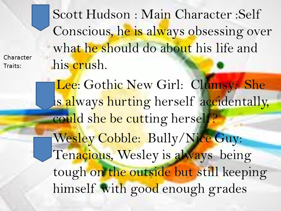 Scott Hudson : Main Character :Self Conscious, he is always obsessing over what he should do about his life and his crush.