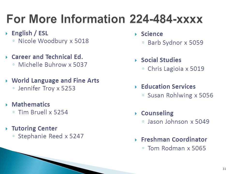 For More Information 224-484-xxxx  English / ESL ◦ Nicole Woodbury x 5018  Career and Technical Ed.