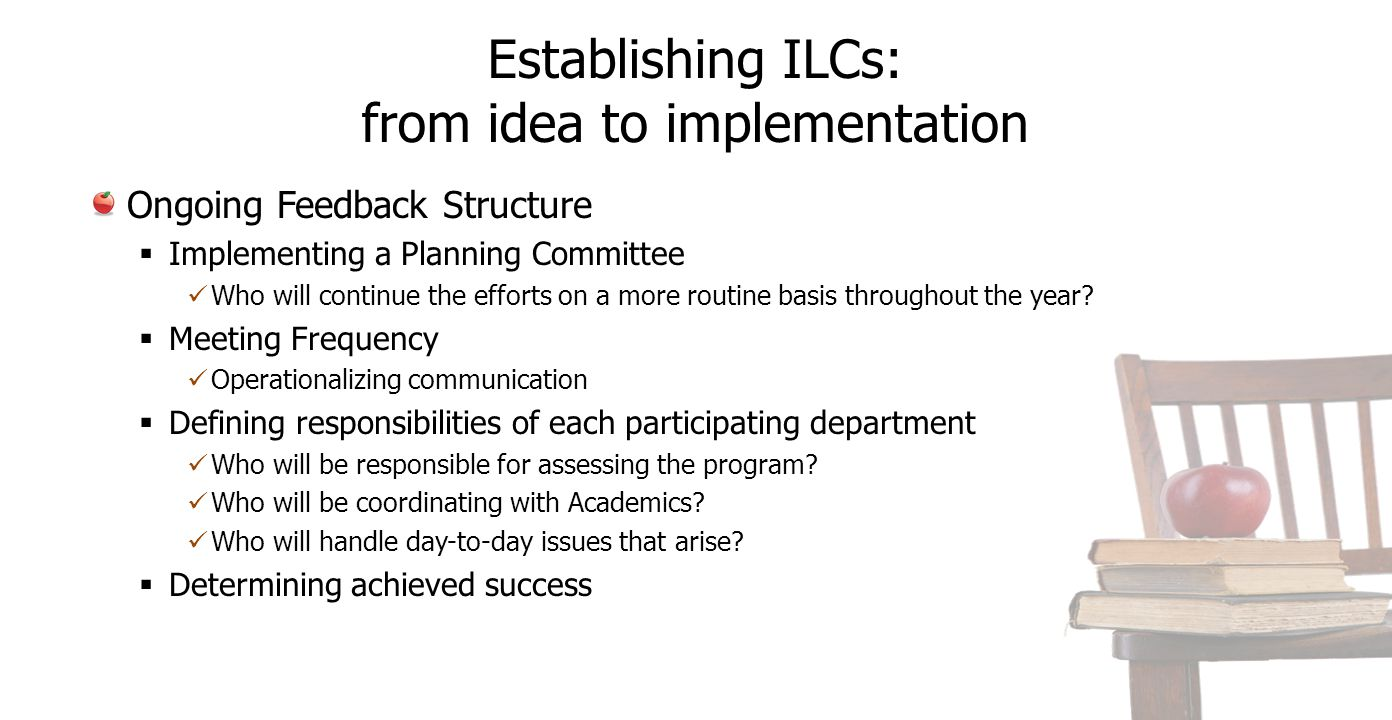 Establishing ILCs: from idea to implementation Ongoing Feedback Structure  Implementing a Planning Committee Who will continue the efforts on a more routine basis throughout the year.