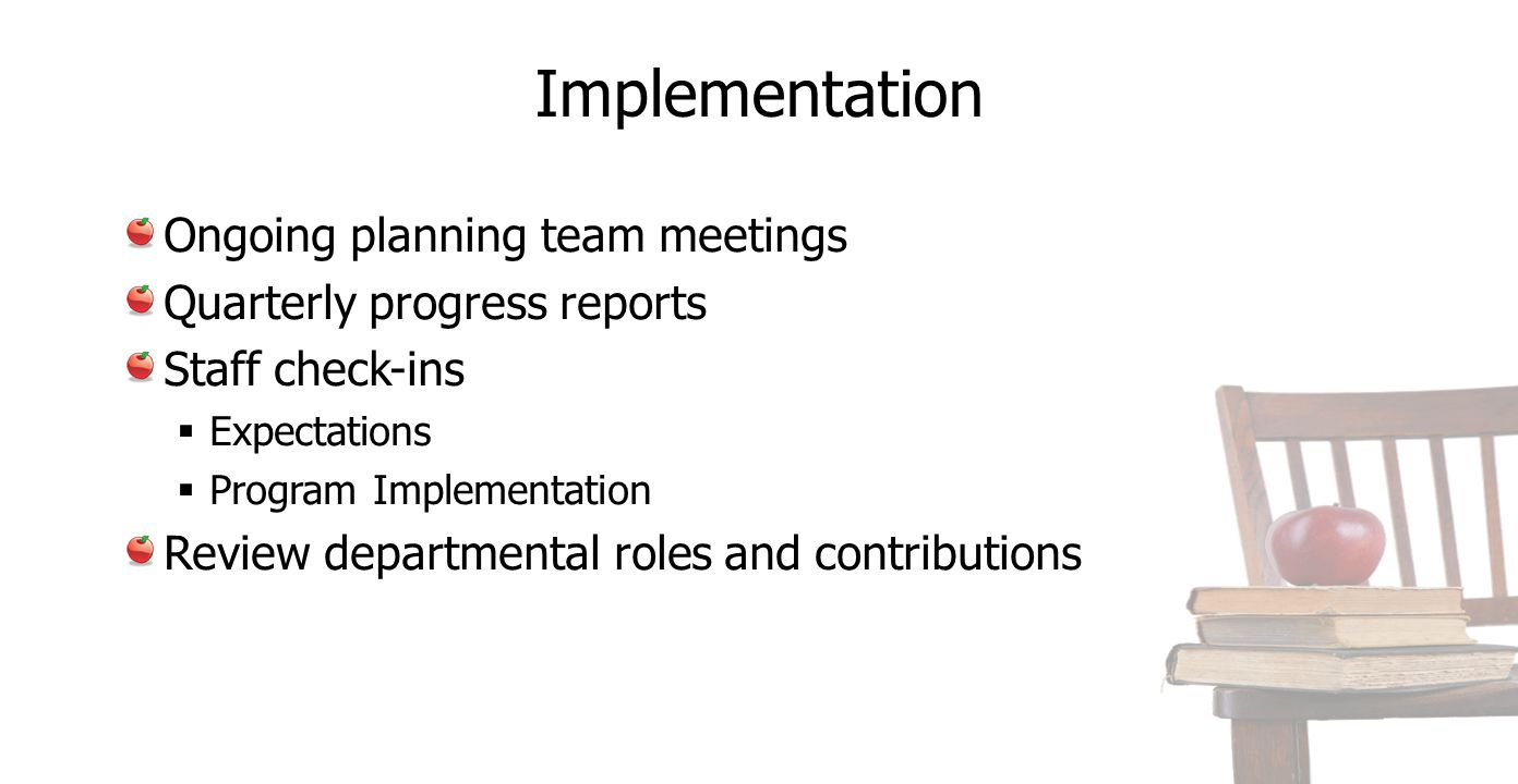 Implementation Ongoing planning team meetings Quarterly progress reports Staff check-ins  Expectations  Program Implementation Review departmental roles and contributions