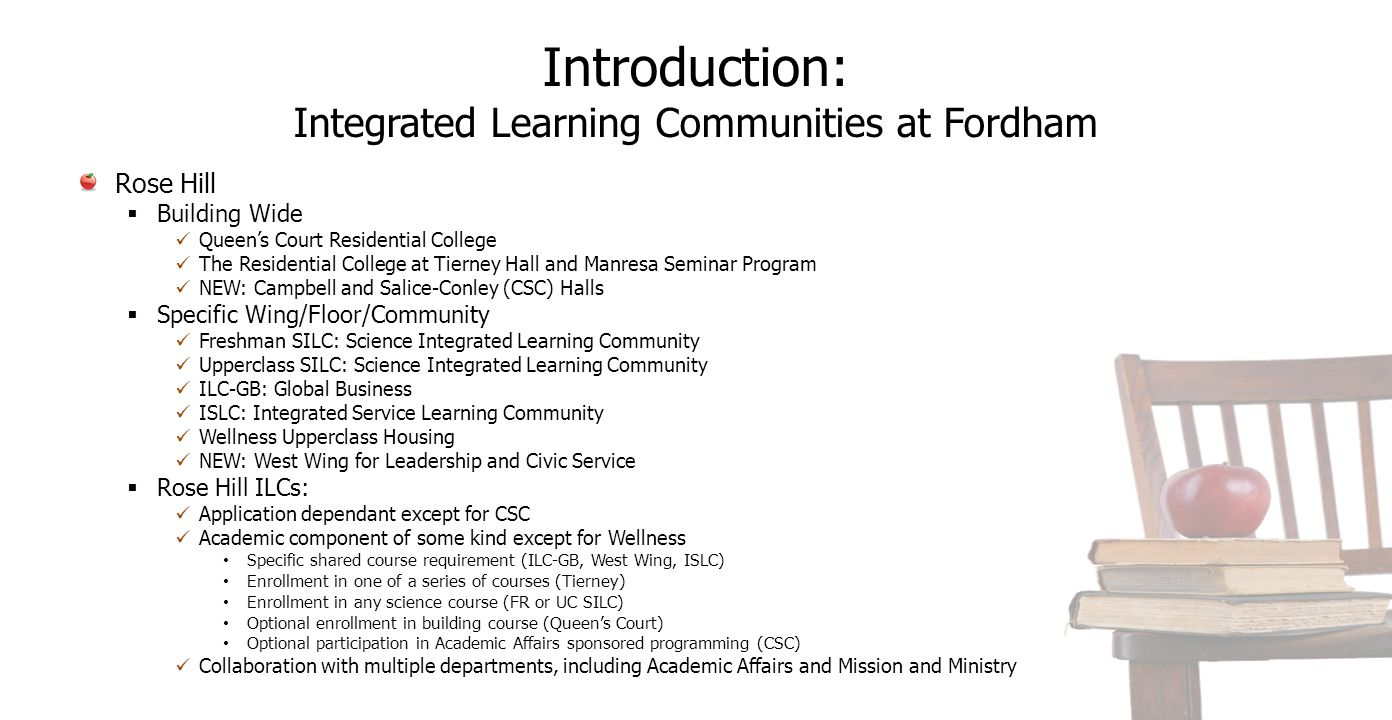 Introduction: Integrated Learning Communities at Fordham Rose Hill  Building Wide Queen's Court Residential College The Residential College at Tierne