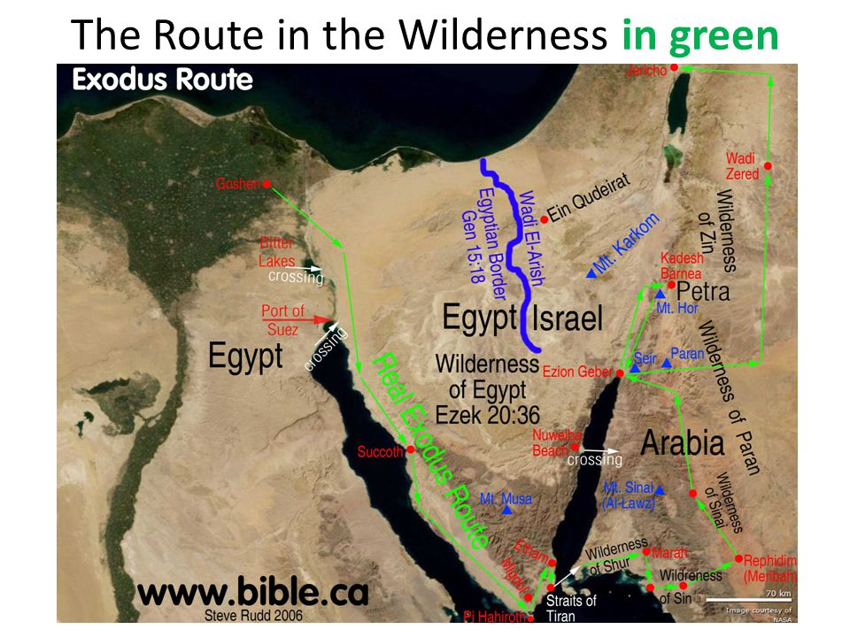 The Route in the Wilderness in green