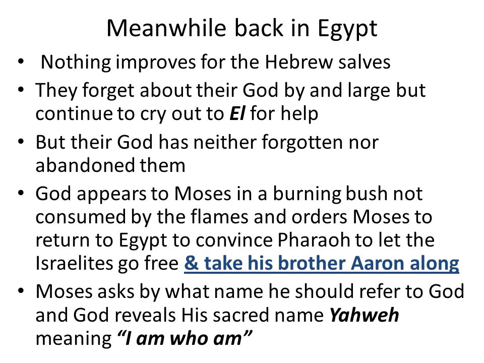 Meanwhile back in Egypt Nothing improves for the Hebrew salves They forget about their God by and large but continue to cry out to El for help But the
