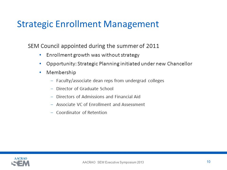 AACRAO SEM Executive Symposium 2013 10 Strategic Enrollment Management SEM Council appointed during the summer of 2011 Enrollment growth was without s