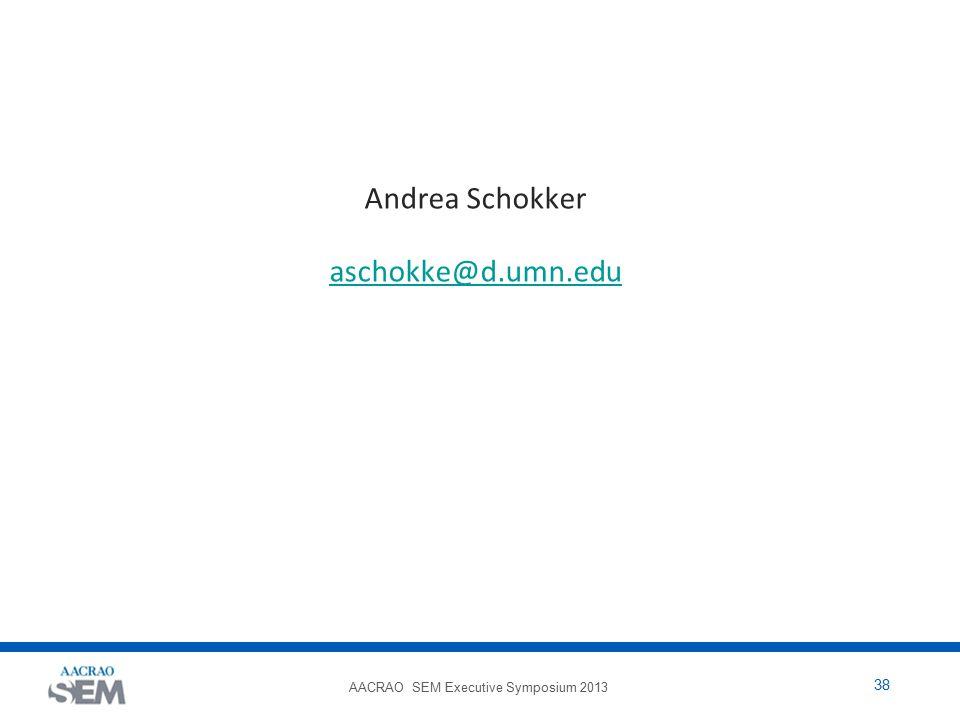 AACRAO SEM Executive Symposium 2013 38 Andrea Schokker aschokke@d.umn.edu