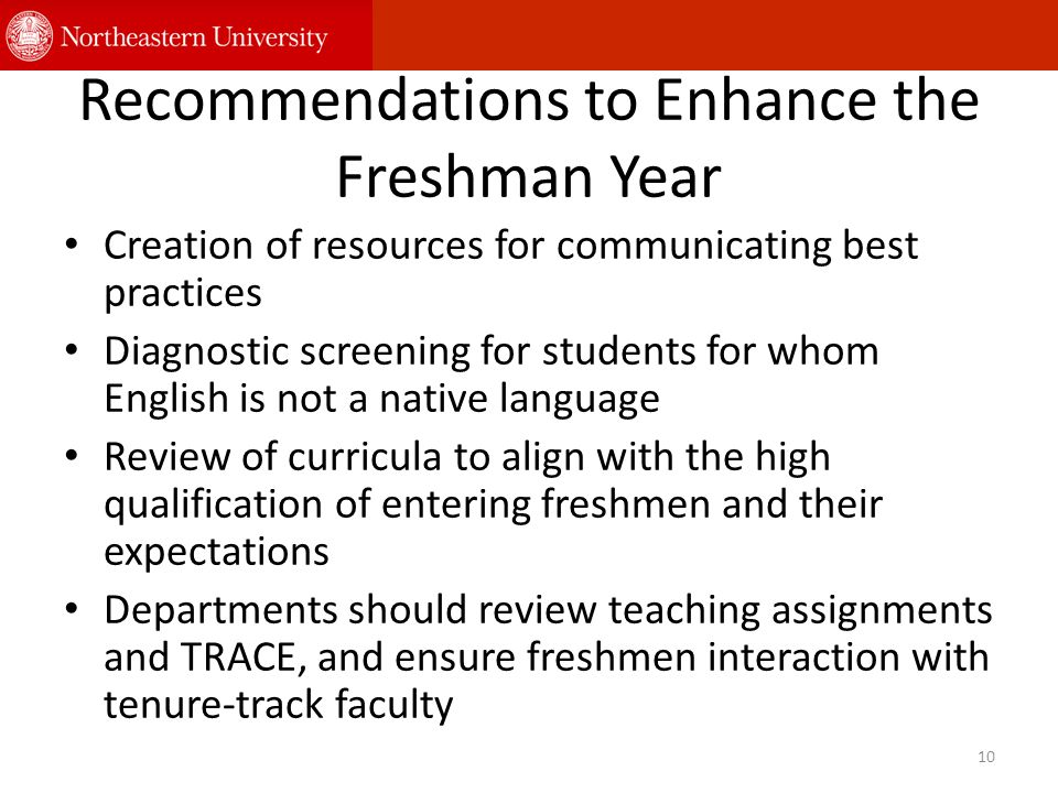 Recommendations to Enhance the Freshman Year Creation of resources for communicating best practices Diagnostic screening for students for whom English