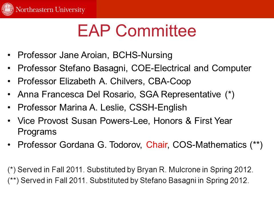 EAP Committee Professor Jane Aroian, BCHS-Nursing Professor Stefano Basagni, COE-Electrical and Computer Professor Elizabeth A. Chilvers, CBA-Coop Ann