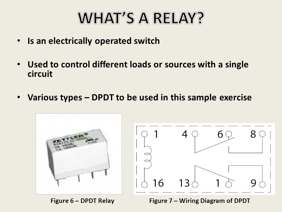 Is an electrically operated switch Used to control different loads or sources with a single circuit Various types – DPDT to be used in this sample exe