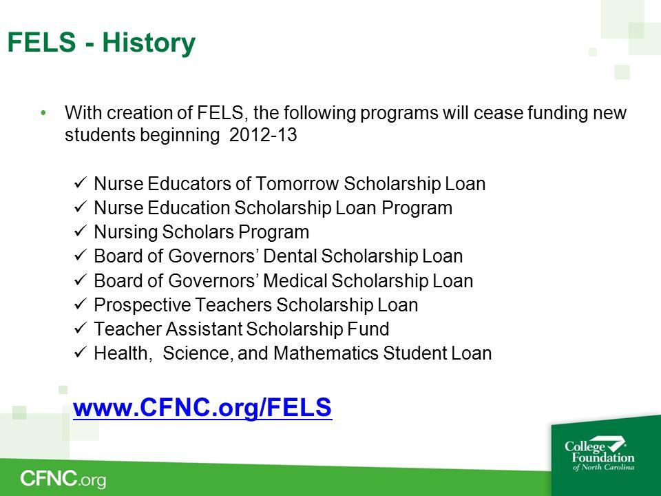 Millennium Teachers Scholarship Loan (Elizabeth City State University, Fayetteville State University and Winston-Salem State University) merged with PTSL on January 1, 2012.